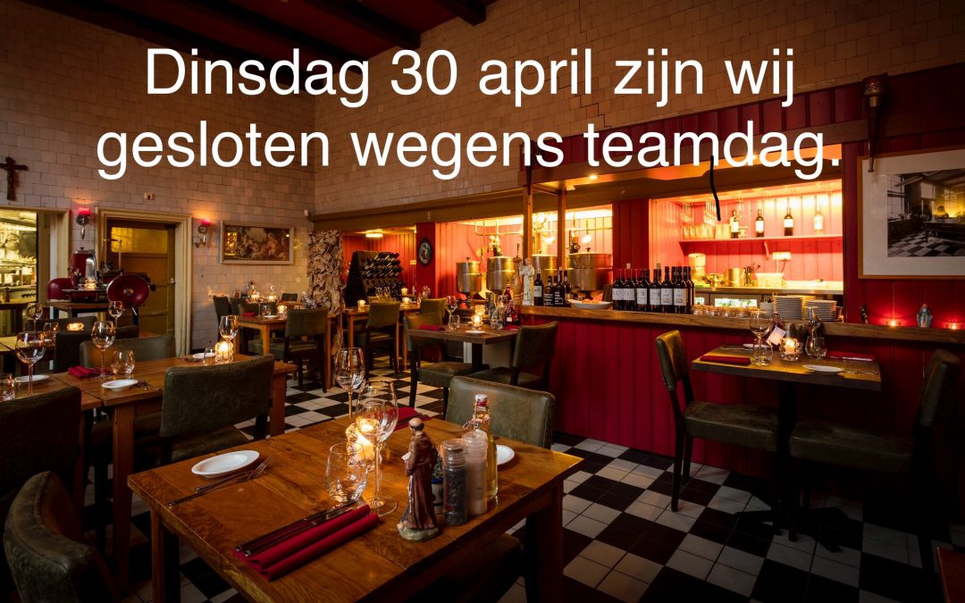 30 april gesloten